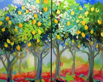 Diptych Large Abstract Original Painting Lemon Trees  36 x 36 Fine Art by Elaine Cory