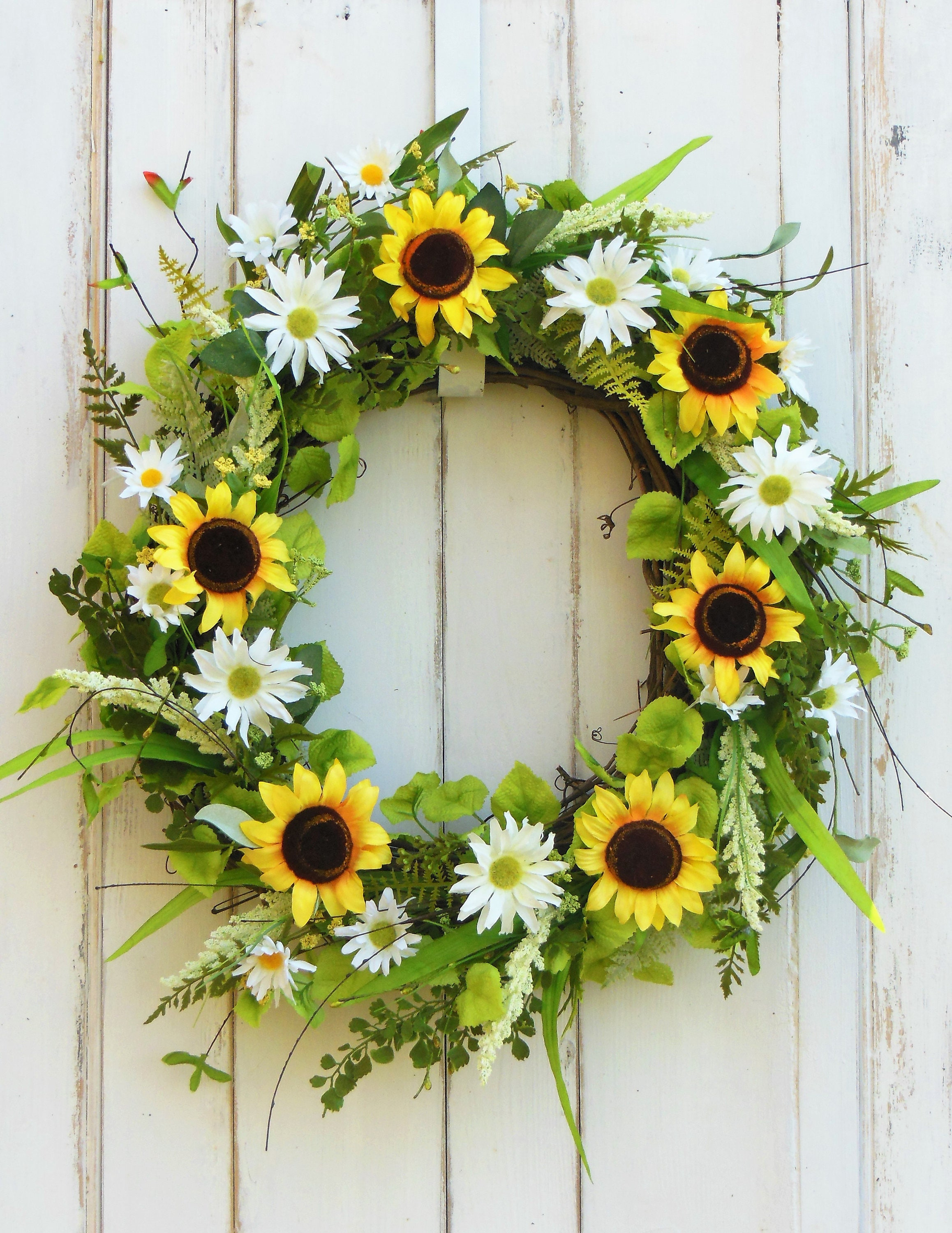 Front Door Wreath, Sunflower Wreath, Spring Wreath, Summer Wreath, Wreath  For Spring, Wreaths, Wreath, Mothers Day Wreath, Wreath For Summer