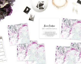 Grey + Magenta + Purple Marble Calling Cards | Business Cards | Blogger Cards | Set (50)