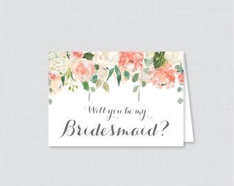 Printable Will You Be My Bridesmaid Cards - Peach Will You Be My Bridesmaid Card, Peach and Cream Flower Bridesmaid Proposal, Floral 0009