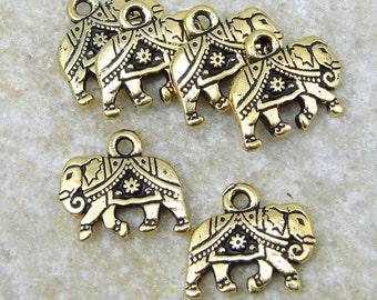 Gold Elephant Charms - TierraCast GITA DROP - 14mm x 12mm Antique Gold Charm (P900)