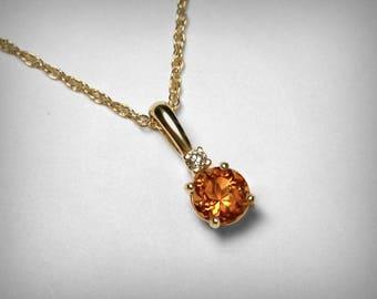 November Birthstone Necklace, 14K Genuine Diamond, Natural Citrine Pendant, 14K Yellow Gold, November Birthstone Birthday, Citrine Necklace