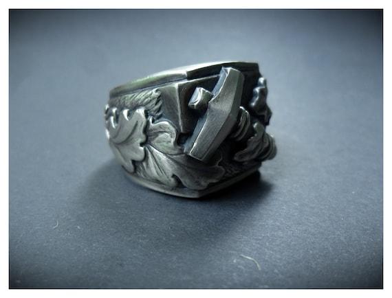 Thor hammer Huge ring Mjolnir Viking ring Silver Hammer