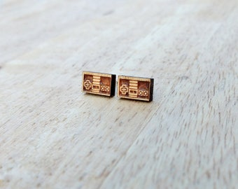 Wood NES controller studs. Nintendo controller earrings, retro gaming studs, gamer girl gift, gamer girl jewelry, retro gaming earrings