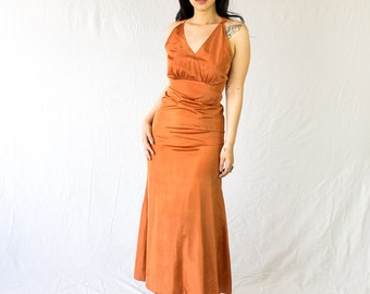 30s Bias Cut Maxi // burnt orange, 1930s, hand made, made in the USA, Orange Gown, floor length