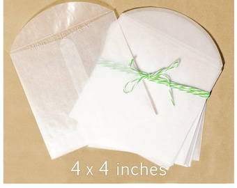 50 - 4 x 4 inches Square Glassine Envelopes - Translucent  Acid-Free - Cookies Favors Packaging Paper Ephemera Small Photos