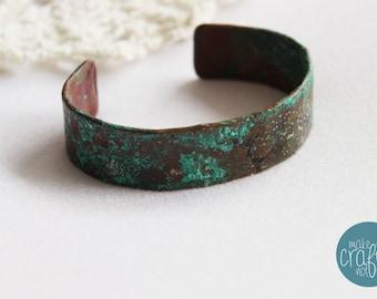 Bangle Bracelet, Patina Blue, Oxidized Copper, turquoise Jewelry, Bohemian Bracelet