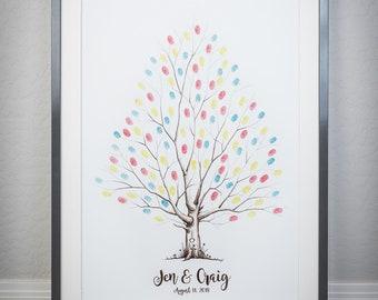 Fingerprint Tree custom wedding guestbook - Original thumbprint guest book alternative (Large Size Sepia) includes 3 ink pads!!