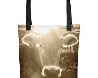 Milk Cow Tote Bag-Brown Swiss-Farmhouse-Rustic Americana-Sepia Photo Print On Carry All Bag-Country Fashion-Cow Lover Gift-Farm Animal