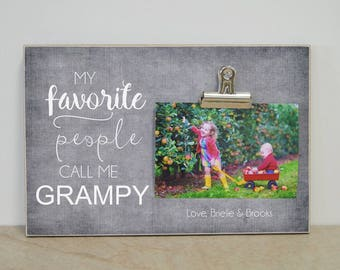 Personalized Photo Frame, Father's Day Gift For Grandpa {My Favorite People Call Me Grandpa, Grampy}  Personalized Gift, Picture Frame