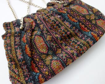 1940s wool carpet bag tapestry bag boho festival chic purse clutch 30s 40s rainbow purse hippie pinup geometric gypsy pouch