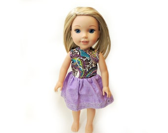 "Purple Paisley Dress for 14.5"" Wellie Wishers ~ Doll Outfit ~ Jewel Heart Dress ~Sleeveless Dress Purple Skirt Cotton"