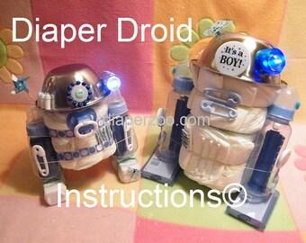 INSTRUCTIONS Diaper Droids R2D2 Star Wars inspired- Baby Diaper Cake Shower Centerpiece Gift Keepsake