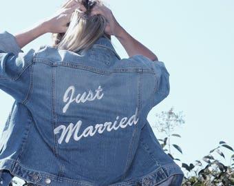 Just Married Denim Jacket   Custom Embroidered   Jean Jacket   Wedding Jacket   Bride Jacket   Wedding Date   Bridal Jacket   Custom Wedding