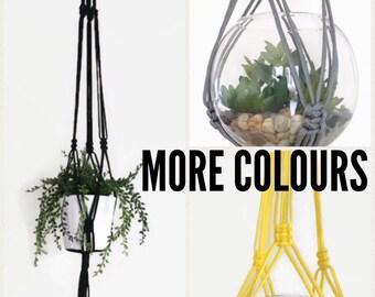 Black Grey Yellow Macrame Plant Hanger / Medium Large Hanging Macrame Planter