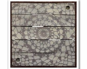 Rustic Modern Art Print-Antique Lace #5 on Reclaimed Wood-Giclee-Archival Print by Heather Roth