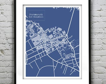 Portsmouth New Hampshire Blueprint Map Poster Art Print Several Sizes Available NH Version 3