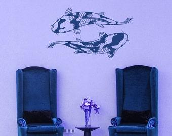 Koi Fish, Pond, Japanese Artwork, Japan Art, Aquatic, Fresh Water, Vinyl Sticker, Vinyl Decal, Wall Decor, Wall Decal, Home Decor