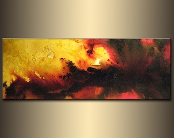 Abstract painting, landscape Sunset Abstract Painting, Contemporary Modern Red Black On Canvas Art by Henry Parsinia Large 48x18