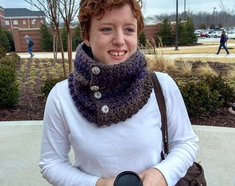 Crocheted Buttoned Cowl ~ Crocheted Scarf ~ Warm Winter Cowl ~ Handmade ~ Hand Stitched Winter Accessories ~ Vintage Buttons ~ Crocheted