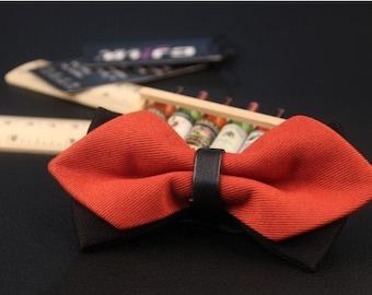 Orange and Dark pre-tied bowties,  Party bowties, Wedding bridal bowties(Pack of 2pcs)