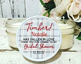 Winter Bridal Shower Favor - Rustic Bridal Shower - Winter Wedding - Lumberjack Bridal Shower - Bridal Shower Candle - Set Of 12 4oz Candles