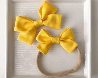 Lemon Classic Bow - Baby Girl Nylon Headband - Girls Fabric Bow