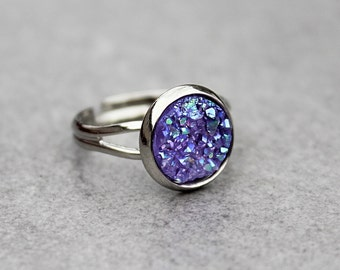 Purple Druzy Ring, Purple Ring, Resin Druzy Ring, Presents for Mom, Gift for Her, Gifts for Girlfriend, Adjustable Ring, Druzy Ring