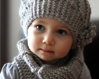 PDF Knitting Pattern - Hat and Cowl COOL WOOL (Toddler, Child, Adult sizes) - English, French, Russian