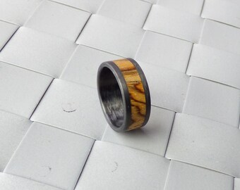 carbon fiber and  zebrano wood ring