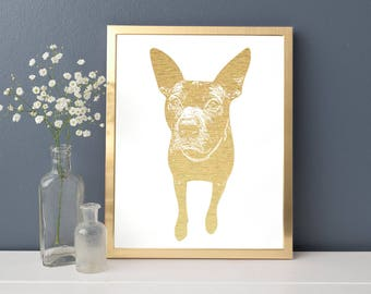 Custom Dog or Cat Pet Photo Gold Foil Print FREE US SHIPPING