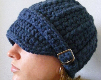 Denim Blue Womens Hat Blue Womens Beanie Blue Womens Cap Blue Hat Blue Beanie Blue Cap Denim Hat Denim Beanie Denim Cap Silver Buckle Beanie