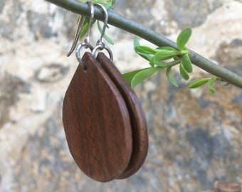 Teardrop, Black Walnut Wood Earrings, FREE SHIPPING,  Wooden Teardrop Earrings,  Handcrafted Earrings, Wooden Earrings, 925 Sterling Silver