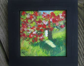 Mini oil painting/floral/flowers/garden/4x4