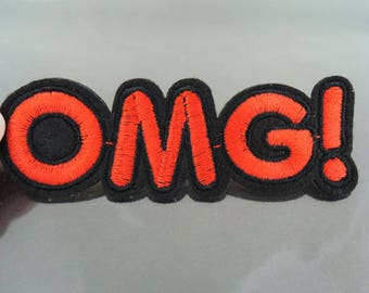 OMG Letter Patches - Iron on or Sewing on Patch Letter Patches Red Black Patch Embellishments Embroidery fonts Word Large Patch
