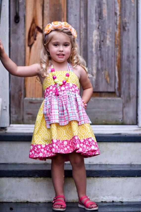 Girls Pink and Yellow Apron Dress - Pink and Yellow Halter Dress - Pink Lemonade - Plaid Dress