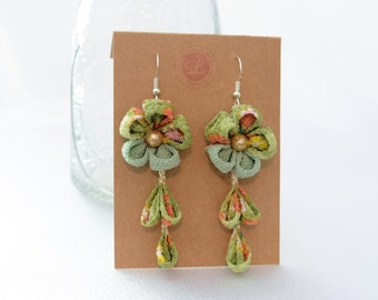 Green Flower Earrings : Kanzashi Earring , Flower Hook Earrings , Kimono