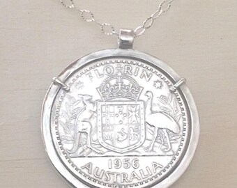 Pre-decimal Australian Florin Handmade Pendant with sterling silver bezel and chain