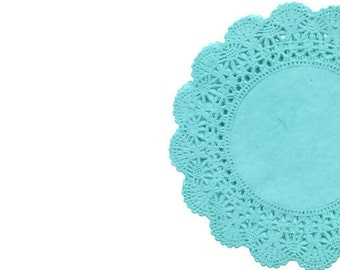 Teal Paper Doilies | Cambridge Tea party Round Lace Paper Doilies Hand Dyed, Blue weddings, bridal showers, birthdays, quinceanera