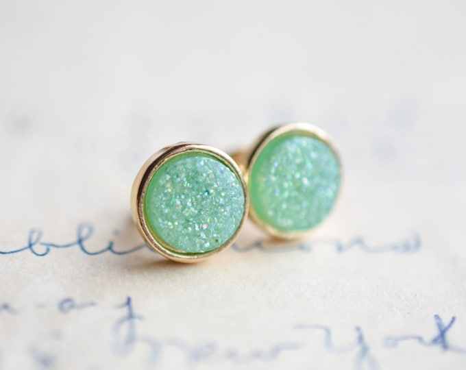 Mint Druzy Earrings - Green Druzy Earrings - Pastel Druzy Earrings - Blue Druzy - Gold druzy earrings, Galactic earrings, - spring earrings