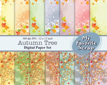Autumn Tree Digital Papers Set (14 printable). Digital Printable Paper Pack - For Commercial or Personal Use.