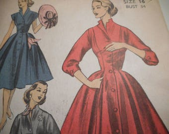 Vintage 1950's Advance 6012 Dress Sewing Pattern Size 16 Bust 34