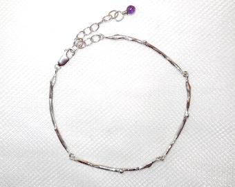 Sterling twig bracelet, branch jewelry, woodland accessory, botanical replica