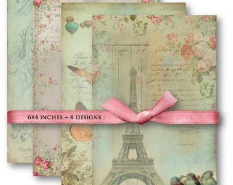 Vintage French Ephemera Digital Collage Sheet Download -507- Digital Paper - Instant Download Printables