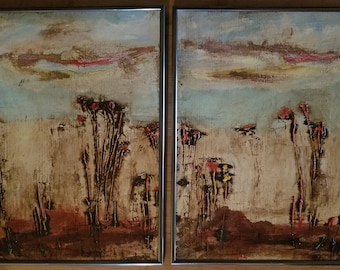 AUTUMN SOUND DYPTICH - 14x18 Framed Canvas Board Set, Australian Landscape Painting, Ready to hang!