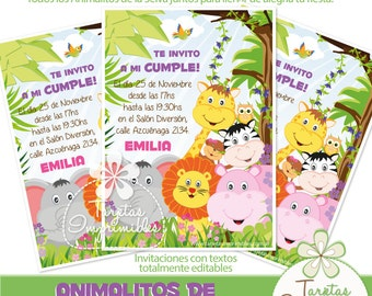 Animals of the jungle by Girl invitations to print