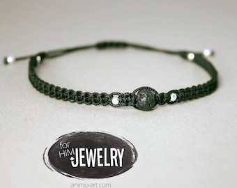 Cool bracelet with real Lavaperle and 925 silver, men's bracelet, men's jewelry, men's jewelry, black bracelet, real lava pearl