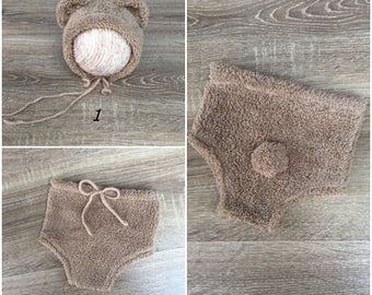 SPRING SALE! Newborn bear hat, Newborn bear diaper, RTS, Photography props, Newborn size, Newborn Posing props