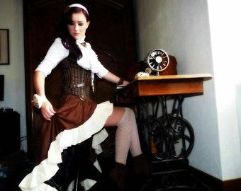 Brown under bust Steampunk corset