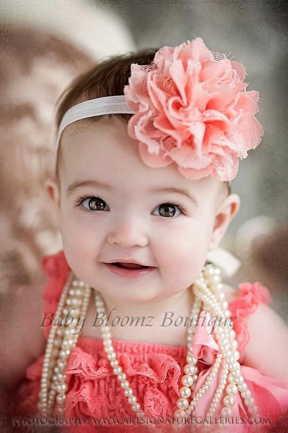 Baby Headband Girl Headband Peach Coral Lace Headband Baby